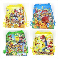Wholesale Turtles School Bag - 4 Style Poke go Pikachu drawstring Bags Children cartoon Jeni turtle Sylveon Poke Ball Backpacks non-woven fabrics School Bags