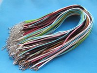 Wholesale Wholesale Leather Cord Colors - 3X420mm Mixed Colors Korea Faux Suede Leather Necklace Cord String Rope,1.8inch Extender Chain,12x7mm Lobster Clasp,DIY Accessory