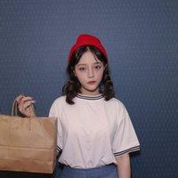 Wholesale Wholesale Mosaic Clothes - Wholesale-2016 New Women Solid T-shirt White Stripe Mosaic Short Sleeved Harajuku T Shirts Casual O-neck Tee Tops Clothing Free Shipping