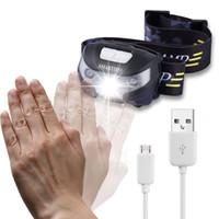 Wholesale Headlight Sensor - 2017 Body Motion Sensor Waterproof Headlamp Mini LED Headlight USB Rechargeable Outdoor Camping Flashlight Head Torch Lamps