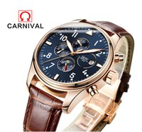 Wholesale Switzerland Watches Automatic - Wholesale- Switzerland Carnival Famous Brand Watch 2016 New Luxury Men Automatic Watches Rose Gold Case Blue Dial Leather Strap Moon Phase