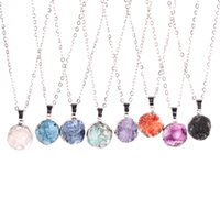 "Wholesale Blue Druzy Pendant Silver - New Arrival Cute Small Round Shape Silver Plated Druzy Beads Pendant Necklace White Purple Green Blue Orange Pink  Black with 18"" Link Chain"