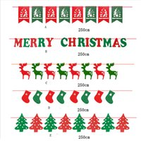 Wholesale Home Party Marketing - Wholesale- 2.5M Merry Christmas Garland Bunting Flag XMAS Tree Socks Elk Letters Home Market Mall Decorations Party Banner Decor GI874698