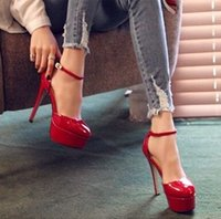 Recién llegado de ofertas especiales de venta Sweet Girl Good Quality Sexy Patent Noble Show Super Nightclub Red Stiletto Heel Bride zapatos individuales EU34-39