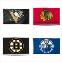 Wholesale Hawks Basketball - Pittsburgh Penguins Flags Hockey Team Baners Flag Chicago Black Hawks Montreal Canadiens Team Football Baseball Champion Flags 3ft x5 ft