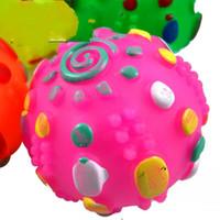 tocar sons de animais venda por atacado-Brinquedos do cão Chews Ringing Sons Dos Desenhos Animados Brinquedo Do Animal de Estimação Divertido Quebra-cabeça Jogando Paciência Esfera Soando Doce Colorido Globular Engraçado Bauble 1 5 hj J1 R