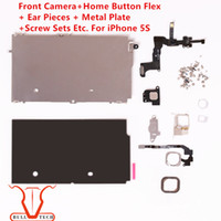 Wholesale Screens Ears - For iPhone 5S Front Camera Home Button Flex Ear Pieces Screw Sets Metal Plate Bezel LCD Display Touch Screen Digitizer Full Complete Parts