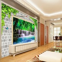 Бесплатная доставка 3D Stereo Waterfall Living Room TV Backdrop Decorative Painting Restaurant Corridor Custom Wallpaper Mural