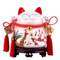 Wholesale House Piggy Bank - house decoration crafts Lucky Cat ornaments size Japanese ceramic piggy bank Home Furnishing Decor store opening housewarming gift