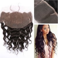 Wholesale Wave Lace Front Closures - 8A Brazilian Human Hair Loose Wave lace frontal 13x4inch Full Lace Front Unprocessed Hair Lace Frontal Closure