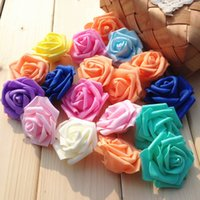 Wholesale Tulips Fake Flowers - Dia 7.5cm foam rose artificial flower head fake flower for home decoration Wedding and banquet 10 colors available free shipping