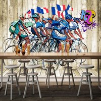Wholesale Sports Backdrops - Free Shipping 3D Stereo Custom Cycling Sports Gym Fashion Dining Room Backdrop Living Room Wallpaper High Quality Mural
