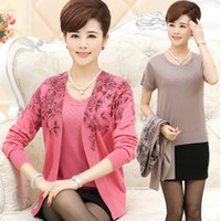 Wholesale Elderly Women Clothing - Wholesale- New 2016 Mother clothing sweater middle-aged women shirt cardigan spring and autumn the elderly top twinset cashmere sweater set