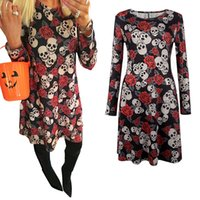 Wholesale Wholesale Cheap Dresses For Women - 2017 Halloween Christmas Long Sleeves Woman Girls Dress Skull Flower Printed Cheap Price Sexy Skirt Elegant for Party Dresses
