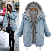Wholesale Cowboy Women Vests - 6XL denim jacket women's fat MM autumn cowboy jacket loose thin coat a pair of fat vest