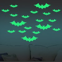 13Pcs Halloween Glowing In The Dark Bat Wall Sticker en verre Halloween Decals de Décoration de Fool's Day - Vert