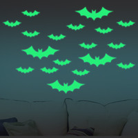 Compra Adesivi Da Parete Verde-13Pcs Halloween incandescente nel bastone scuro Bat Wall Sticker Decorazione decalcomanie di decorazione giorno di folle di Halloween - Verde