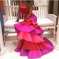 Wholesale Prom Dress Long Straps Colorful - Vestido Festa 2017 Fashion Mixture Color Spaghetti Strap Tiered Long Colorful Prom Dresses Evening dress Robe De Soiree Longue