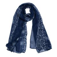Wholesale Gauze Scarfs - Wholesale- SIF 2016 Spring Women Lady Classical Print Scarf Scarves Sun Protection Gauze Kerchief NOV 30