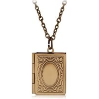 Wholesale Place Jewelry - Wholesale- Vintage Style Delicate Imitation Book Locket Necklace Secret Hiding Place Photo Locket Librarian Necklace Jewelry Photos Box