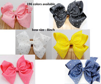 Wholesale Rhinestone Big Hair Bow - 6inch  8inch Big Solid Ribbon Rhinestone Hair Bow With Clip For Girls Handmade Crystal Hair Clip Kids Hair Accessories Headwear 20pcs
