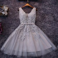Wholesale White Dresses For Women Cocktail - Silver Grey Cocktail Dresses For Women 2017 Real Image Sexy Short Prom Dress Appliqued Tulle A Line Special Occasion Party Gowns