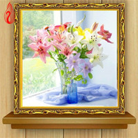 Wholesale Lily Canvas Paintings - YGS-368 DIY Partial 5D Diamond Embroider The Lily Vase Round Diamond Painting Cross Stitch Kits Diamond Mosaic Home Decoration