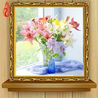 Wholesale Canvas Painting Vases - YGS-368 DIY Partial 5D Diamond Embroider The Lily Vase Round Diamond Painting Cross Stitch Kits Diamond Mosaic Home Decoration