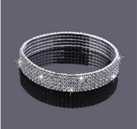Barato Cristal Esticar Tornozelo Braceletes-5 Row Five Rows Sparkly Rhinestone Anklet Crystal Stretch Cz tornozelo Pulseira Sexy Anklet Atacado Bridal Wedding Accessories for Women