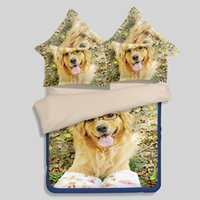 Wholesale Dog Drying Machine - Cute 3D Dog Puppy Duvet Cover Set 3 4Pcs Flat Bed Sheet Animal Pattern Quilt Cover Pillowcase Bedding Set Bedclothes Bedspread