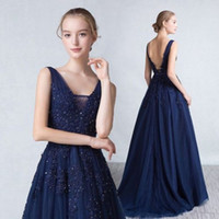 Resultado de imagen de vestidos azules oscuros largos