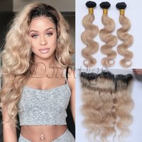 Wholesale Hair Color Roots - Ombre 1B 27 Dark Roots Brazilian Virgin Human Hair Extension Body Wave 3 Bundles With Ear to Ear Lace Frontal Closure Honey Blonde