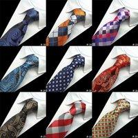 Wholesale Silk Neck Ties Xl - GUSLESON Silk Men Tie 8cm Plaid Paisley Neck Ties for Men Necktie Classic Wear Business Wedding Tie Party Gravatas 1200 Needles