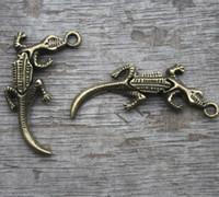Wholesale Alligator Pendant - 10pcs--Alligator Charms, Antique bronze 3D Can swing Alligator charm pendants,Crocodile charms,Jewelry Making 40x12mm