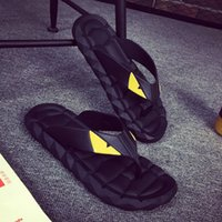 Wholesale Leather Straps For Shoes - 2017 Eye Monster Summer men's shoes flip flops for loose-fitting men beach slippers, rubber flip-flops outdoor massage men sandals A7030101