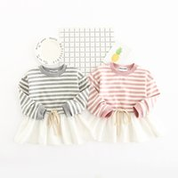 Wholesale Girls Stripped Tutu Dress - 2017 hot sell Korean style new arrivals girls dress long sleeve round stripped collar 100% cotton dress casual elegant dress