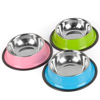 Wholesale Bowl Feeders Stainless - Stainless Steel Pet Bowls for Dog 3 Colors Puppy Cats Food Water Feeder Pets Supplies Feeding Dishes Dogs Bowl S M L