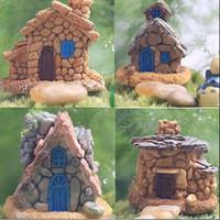 ingrosso decorazioni in resina diy-4Pcs / Lot Micro Cottage Landscape Decoration per DIY Resin Artigianato in stile casuale Stone House Fairy Garden Miniature Craft