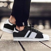 Wholesale Up Size Clothing - 2017 Superstar mens Women Casual shoes Clothes Superstar smith stan Female Flat Shoes Running Shoes Black White Color size 36-44 With Box