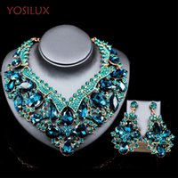 Wholesale Wedding Gift For Bride Gold - Statement Necklace Set Wedding Party 5 color rhinestone Jewelry sets For Brides Dress Jewelry Accessories Women Gift YOSILUX B016