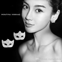 Wholesale Earring Mask Studs - Catwoman Mask Crystal Diamond Stud Earrings Bohemia fox mask stud wholesale free shipping