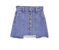 Wholesale Knee Skirt Denim Blue - The new spring summer 2017 fashion irregular package hip jeans skirts short skirt singles A word cowboy dress