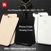 Wholesale Apple Back Housing - For iPhone 6 6P 6S 6SP 7 7P Plus Back Housing Cover Like iPhone 8 Style Metal Glass Back Cover Replacement with Buttons