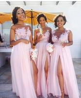 Wholesale Flowy Floor Length Dress - Flowy Chiffon Pink Long Bridesmaid Dresses Sheer Neck Cap Sleeves Appliqued Illusion Bodice Sexy Split Summer Black Women Maid Of Honor