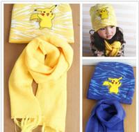 Wholesale Soft Pikachu Hat - Poke Mon Winter Warm Cartoon Hat Scarf Set for kids Knitted Poke Pikachu Soft Warm Beanie Cap Long Scrarves for Baby 3-10 years kids L001