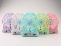 Wholesale Usb Rechargable - rechargable USB cooling fan mini fans Adjustable 3 Speed Cool With LED Light fan handheld portable fans 800mah battery 1pc