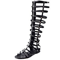 Wholesale Vintage Rome Summer Knee High Gladiator Sandals Peep Toe Woman Cross tied Gladitor Sandals Date Party Summer Shoes Flats