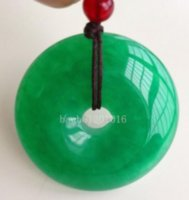 Wholesale Lucky Jade - Chinese Natural Green Jade Hand-carved Harmony Lucky Pendant + Rope Necklace0772