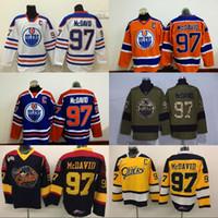Wholesale Wholesale Browns Jerseys - #97 Connor McDavid Jerseys Edmonton Oilers Men's 100% Stitched Embroidery Logos Captain C Patch Hockey Jerseys Cheap Mix Order S-3XL