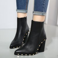 Wholesale Punky Shoes - Celebrity Style Punky Black Pu Leather Rivets Shoes Pointed Chunky High Heels Ankle Boots 2017 New Size 35 to 40
